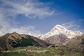 Kazbek mountain and Gergeti Trinity Church