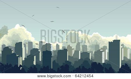 Illustration Of Big City In Blue Tone. poster