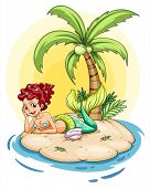 Illustration of a smiling mermaid in an island on a white background