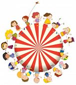 Illustration of the kids forming a big circle on a white background