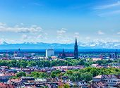 Aerial view of Munich with Bavarian Alps in background, Bavaria, Germany