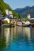 Austrian tourist destination Hallstatt village on  Hallst�?�?�?�¤tter See in Austrian alps. Salzkammergut region, Austria