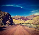 pic of manali-leh road  - Vintage retro effect filtered hipster style travel image of Travel forward concept background  - JPG