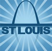 St Louis skyline reflected with blue sunburst vector illustration