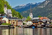 Austrian tourist destination Hallstatt village on  Hallst�?�?�?�¤tter See in Austrian alps. Sal