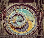 Vintage retro hipster style travel image of astronomical clock on Town Hall. Prague, Czech Republic