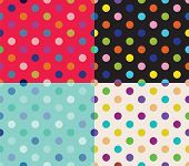 Set of four polka dot patterns