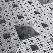 interior of Menger-Sierpinski sponge #5 (monochrome).