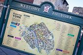 Welcome to York Sign with city map