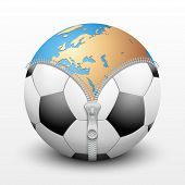 soccer ball inside Planet Earth