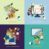 Flat Web And Graphic Design, Marketing, Pay Per Click