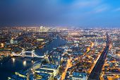 stock photo of bridge  - Aerial view of London towards Tower bridge - JPG