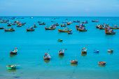 Many Traditional Boats In Fishing Village