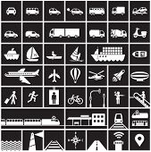 Transportation icons set - road, rail, water, air transport symbols & design elements.High contrast