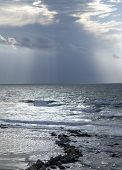 Winter Mediterranean sea after a thunderstorm