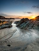 Sunset On A Cornish Beach