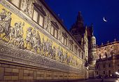 Dresden Procession of Princes Mosaic by night