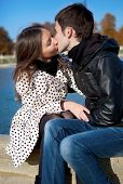 Romantic Couple Outdoors, Kissing