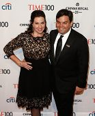 NEW YORK-APR 29: Songwriter Robert Lopez (R) and wife Kristen Anderson-Lopez attend the Time 100 Gal
