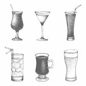 Vector set of hand drawn drinks