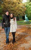 Romantic Coouple In The Luxembourg Garden Of Paris, Walking