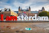 AMSTERDAM - OCTOBER 2, 2012: The Rijksmuseum Amsterdam museum area with the words IAMSTERDAM on Octo