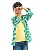 Kid Making Time Out Gesture Over White Background