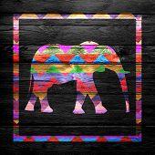 Chevron Elephant Pattern on Wood