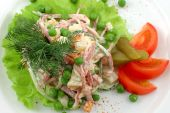 foto of crudites  - Salad from fresh vegetables on a white dish close up - JPG