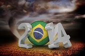 Brazil world cup 2014 against stormy sky with tornado over field