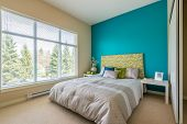 picture of motel  - Modern blue bedroom interior in a luxury house - JPG