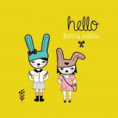 Fun hello bunny sisters quirky postcard illustration cover design with rabbit hipster characters in vector