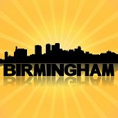 Birmingham Alabama skyline reflected with sunburst illustration