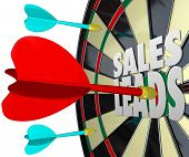 picture of clientele  - Sales Leads Words Dart Board Selling Customers Prospects - JPG