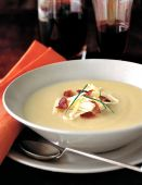 tasty creamy potato soup with bacon