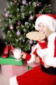 Santa Helper By Tree Having A Snack