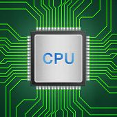Isolated Paper Cut Of Cpu Chip On Green Circuit Is Central Processor Technology In Circuit Computer