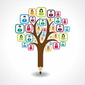 creative social people tree design concept