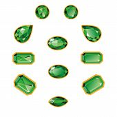 Emeralds Set Isolated Objects