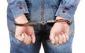 Handcuffs On Hands Closeup