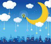 moon and skyline