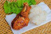 delicious thailand breakfast, sticky rice with Fried chicken