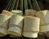 Thai Handmade Bamboo Container For Holding Cooked Glutinous Rice