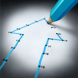 image of step-up  - Success strategy and step by step business planning as a blue pencil drawing connection lines to connect the dots on a puzzle shaped as an arrow going up as a financial metaphor for a successful planned personal project - JPG