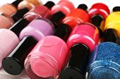 Colorful nail polishes, close-up