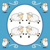 Funny Sheep Over Blue Background