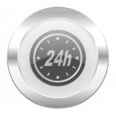 24h chrome web icon isolated