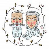Bearded Man and No Beard Woman Portraits