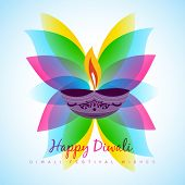 vector diwali diya with colorful leaf