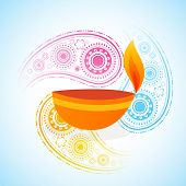 Vector colorful background of diwali diya